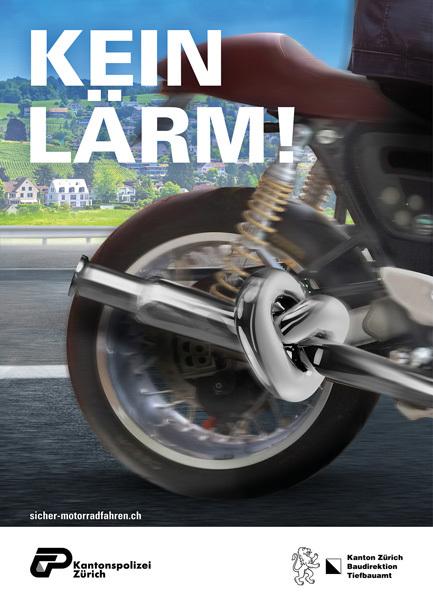 Plakat mit Text Kein Lärm und Motorradfahrer