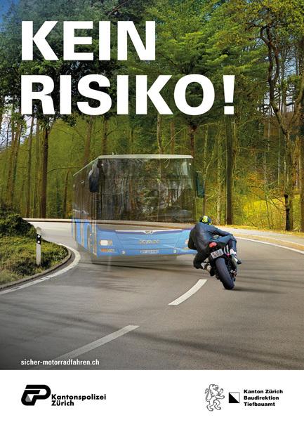 Plakat mit Bus und Motorradfahrer